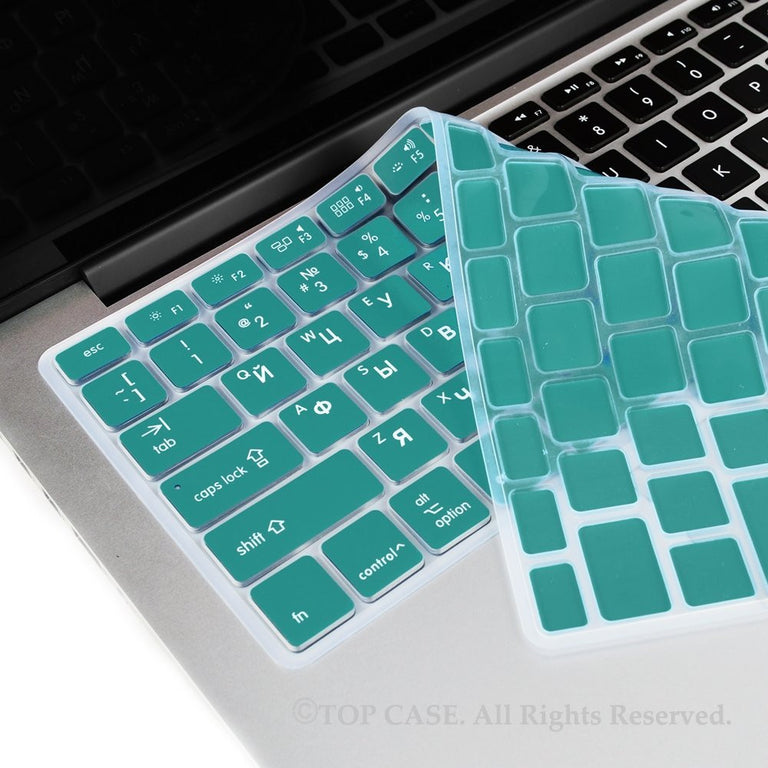 "Russian / English AQUA Silicone Keyboard Cover for Macbook Pro 13"" 15"" 17"""
