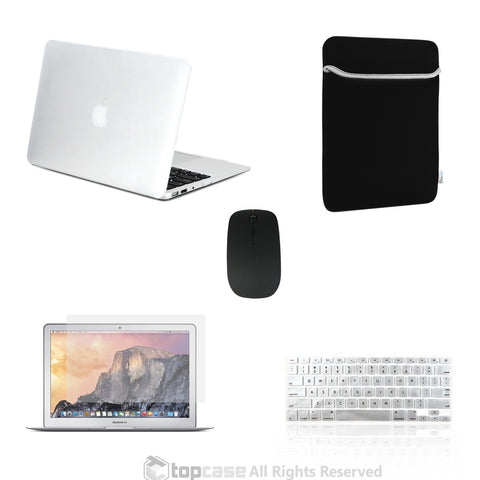 "TOP CASE 5 in 1 – Macbook Air 13"" Matte Case + Sleeve + Mouse + Keyboard Skin + LCD - CLEAR"