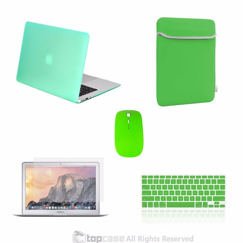"TOP CASE 5 in 1 – Macbook Air 13"" Matte Case + Sleeve + Mouse + Keyboard Skin + LCD - GREEN"