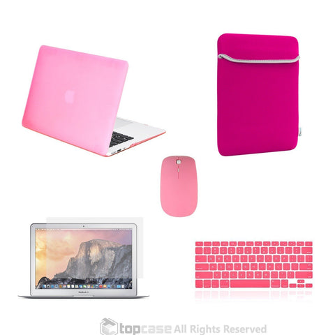 "TOP CASE 5 in 1 – Macbook Air 13"" Matte Case + Sleeve + Mouse + Keyboard Skin + LCD - PINK"