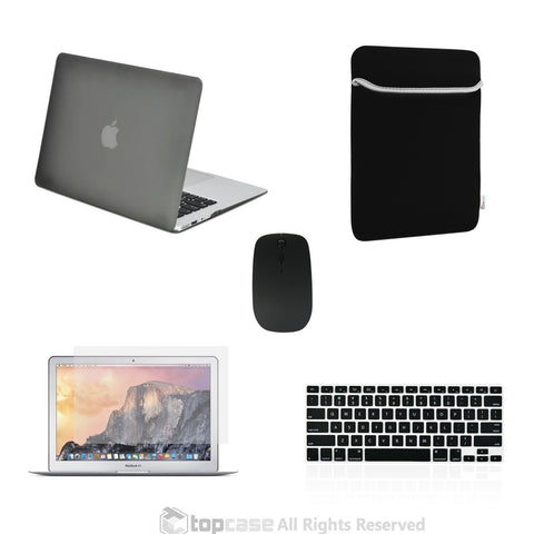 "TOP CASE 5 in 1 – Macbook Air 13"" Matte Case + Sleeve + Mouse + Keyboard Skin + LCD - GREY"