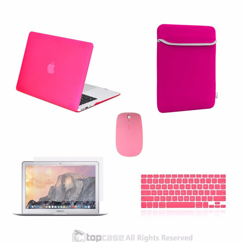 "TOP CASE 5 in 1 – Macbook Air 13"" Matte Case + Sleeve + Mouse + Keyboard Skin + LCD - HOT PINK"