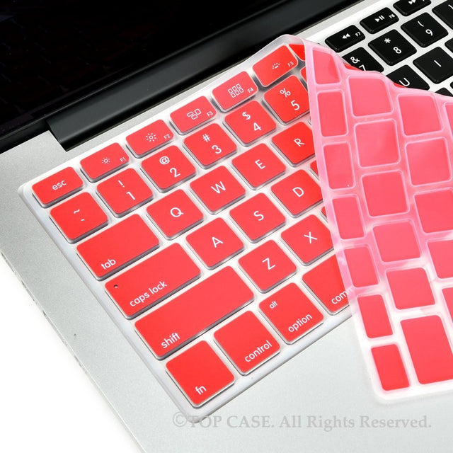 "TOP CASE Coral Red Silicone Keyboard Cover Skin for All Macbook 13"" 15"" 17"""