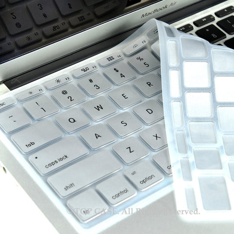 "Silver Keyboard Silicone Cover Skin for New Macbook Air 11"" Model: A1465"