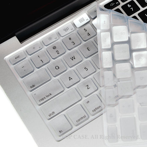 "TOP CASE SILVER Silicone Keyboard Skin for All Macbook 13"" 15"" 17"""