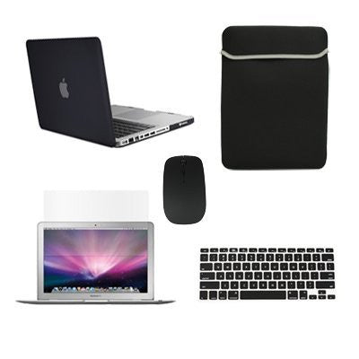 "TOP CASE 5 in 1 – Macbook Pro 13"" Rubberized Case + Sleeve + Mouse + Keyboard Skin + LCD - BLACK"