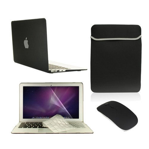 "Top Case 5 in 1 - Macbook Air 11"" Matte Cover + Sleeve Bag + Mouse + Keyboard Skin + LCD ( BLACK)"