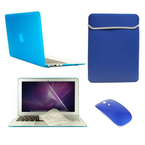 "TOP CASE 5 in 1 – Macbook Air 11"" Crystal Case + Sleeve + Mouse + Keyboard Skin + LCD - AQUA"