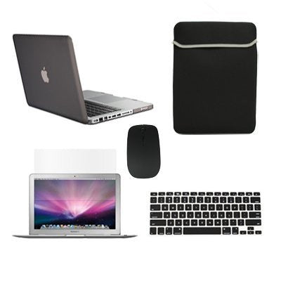 "TOP CASE 5 in 1 - Macbook Pro 13"" Matte Case + Sleeve + Mouse + Keyboard Skin + LCD - BLACK"