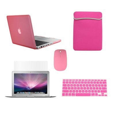 "TOP CASE 5 in 1 - Macbook Pro 13"" Matte Case + Sleeve + Mouse + Keyboard Skin + LCD - PINK"