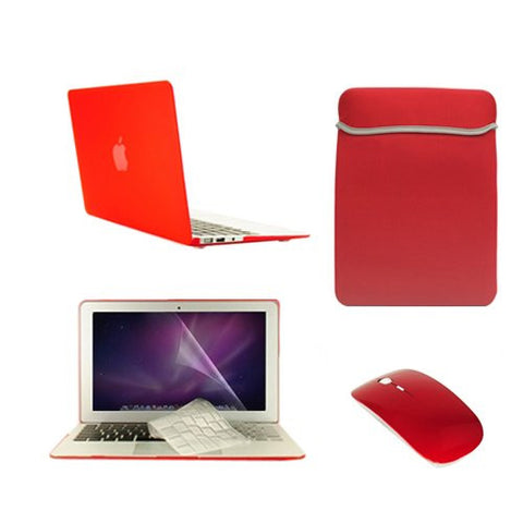 "TOP CASE 5 in 1 - Macbook Air 11"" Matte Case + Sleeve + Mouse + Keyboard Skin + LCD - RED"