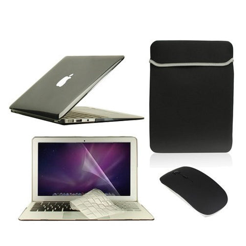 "TOP CASE 5 in 1 – Macbook Air 11"" Crystal Case + Sleeve + Mouse + Keyboard Skin + LCD - BLACK"