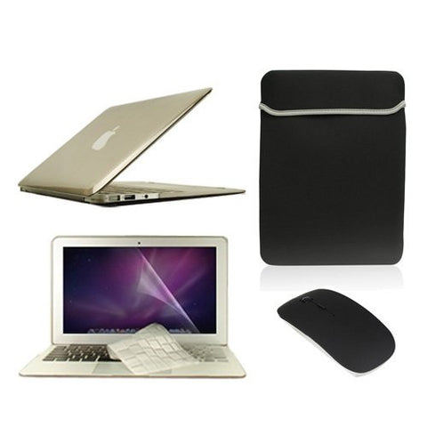 "TOP CASE 5 in 1 – Macbook Air 11"" Crystal Case + Sleeve + Mouse + Keyboard Skin + LCD - GRAY"