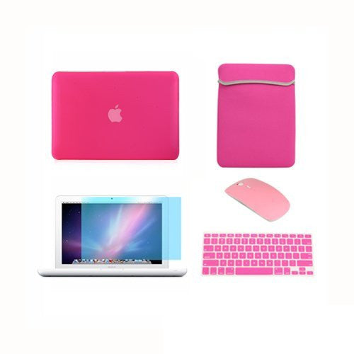 "TOP CASE 5 in 1 – Macbook White 13"" Rubberized Case + Sleeve + Mouse + Keyboard Skin + LCD - Hot Pink"