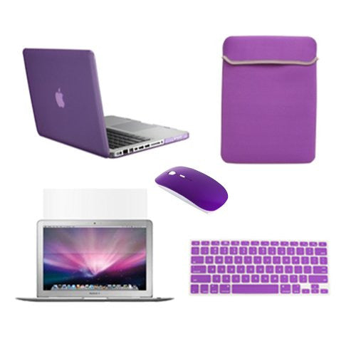 TOP CASE 5 in 1 - Retina 15-Inch Matte Case + Sleeve Bag + Mouse + Keyboard Skin + LCD - PURPLE