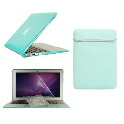"TOP CASE 4 in 1 - MacBook Air 11"" Crystal Case + Sleeve + TPU Keyboard Cover + LCD (ROBIN EGG BLUE)"