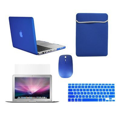 TOP CASE 5 in 1 - Retina 15-Inch Matte Case + Sleeve Bag + Mouse + Keyboard Skin + LCD - ROYAL BLUE