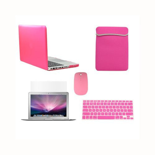 TOP CASE 5 in 1 - Retina 15-Inch Matte Case + Sleeve Bag + Mouse + Keyboard Skin + LCD - PINK