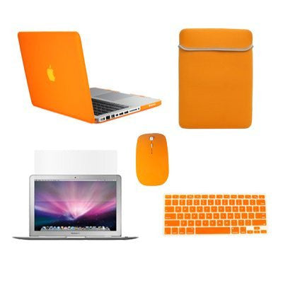 TOP CASE 5 in 1 - Retina 15-Inch Matte Case + Sleeve Bag + Mouse + Keyboard Skin + LCD - ORANGE