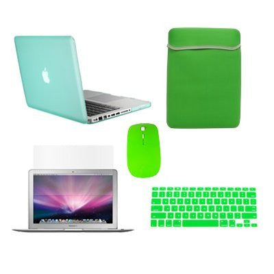 TOP CASE 5 in 1 - Retina 15-Inch Matte Case + Sleeve Bag + Mouse + Keyboard Skin + LCD - GREEN