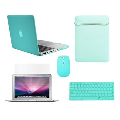 TOP CASE 5 in 1 - Retina 15-Inch Matte Case + Sleeve Bag + Mouse + Keyboard Skin + LCD - TURQUOISE