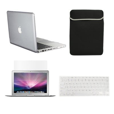 "TOP CASE 4 in 1 - Macbook Pro 13"" A1278 Crystal Case + Sleeve  Bag + Keyboard Cover + LCD (CLEAR)"