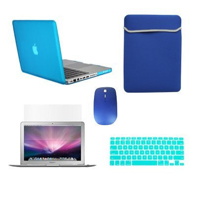 TOP CASE 5 in 1 - Retina 15-Inch Matte Case + Sleeve Bag + Mouse + Keyboard Skin + LCD - AQUA BLUE