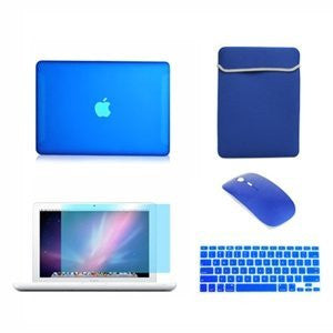 TOP CASE 5 in 1 - Macbook White Matte Case + Sleeve Bag + Mouse + Keyboard Skin + LCD - ROYAL BLUE