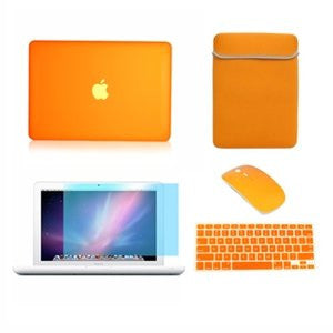 TOP CASE 5 in 1 - Macbook White Matte Case + Sleeve Bag + Mouse + Keyboard Skin + LCD - ORANGE