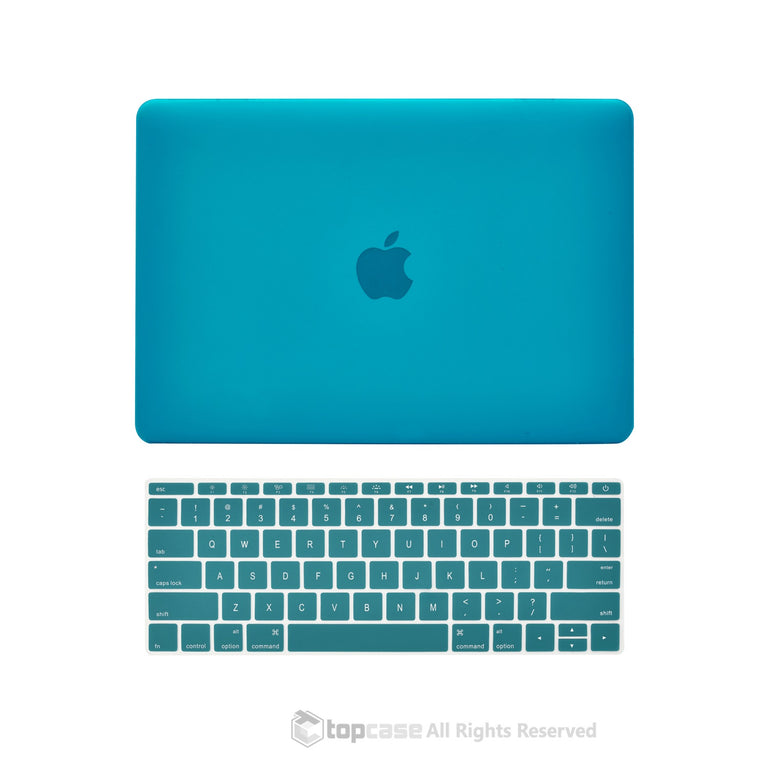 "TOP CASE 2 in 1 – Macbook Retina 12"" Rubberized Case + Keyboard Skin - Aqua Blue"