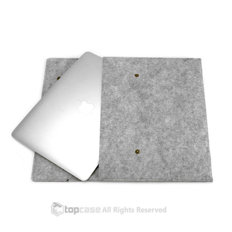 "Black/Light Gray Flap Felt Environmental Sleeve Bag / Carrying Case for Apple Macbook 13"" Laptop / Ultrabooks / Chromebook - TOP CASE"
