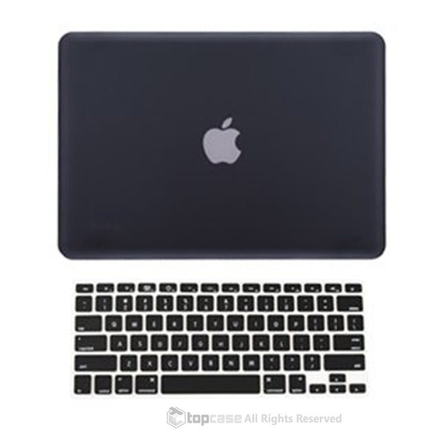 "Black Rubberized Hard Case Cover and Keyboard Cover for Macbook White 13"" A1342"