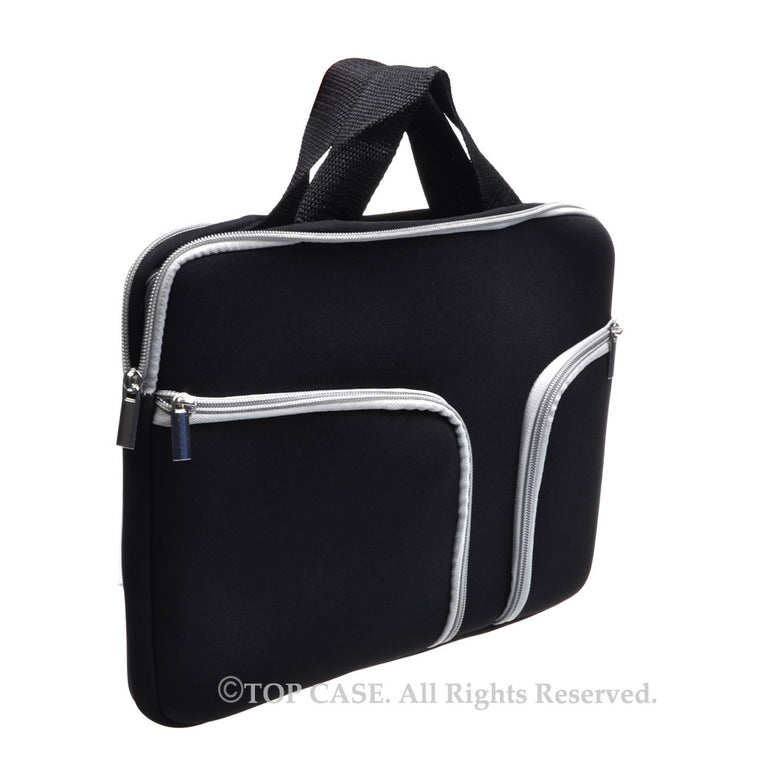 "Zipper Black Sleeve Bag Cover with Handle and Pockets / Compartments for Macbook 12"" 12-Inch Model: A1534 Retina Noteboook"