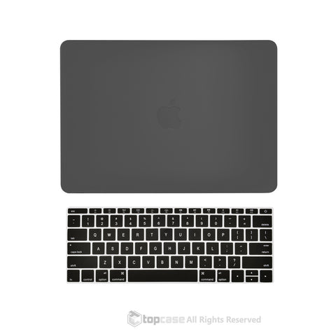 "TOP CASE 2 in 1 – Macbook Retina 12"" Rubberized Case + Keyboard Skin - Black"