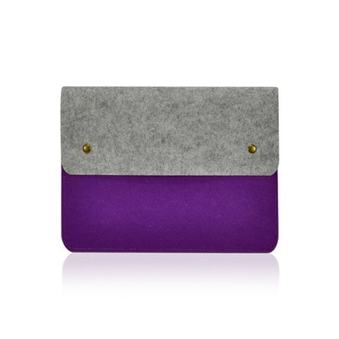 "Felt Environmental Purple Sleeve Bag / Carrying Case with Button Closure for Apple Macbook Air 11"" 11-Inch Laptop Model: A1370 & A1465 / Ultrabook - TOP CASE"