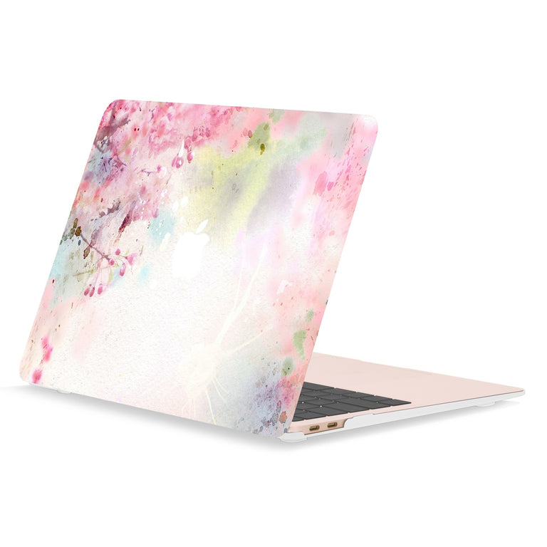 TOP CASE - Floral Pattern Rubberized Hard Case Cover Compatible with 2018 Release MacBook Air 13 Inch with Retina Display fits Touch ID Model: A1932 - Cherry Blossom