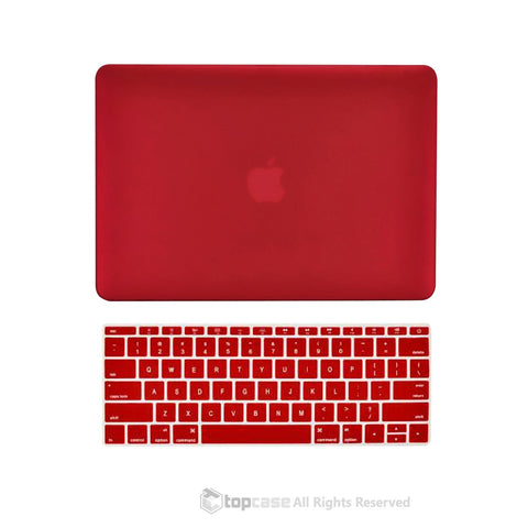 "TOP CASE 2 in 1 – Macbook Retina 12"" Rubberized Case + Keyboard Skin - Wine Red"