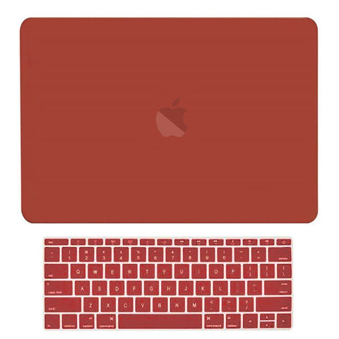 Macbook Pro 13 WITHOUT Touch Bar (2016 Release) 2 in 1 Bundle, Rubberized Matte Hard Case Cover + Matching Color Keyboard Cover for MacBook Pro 13-inch A1708 without Touch Bar - Wine Red