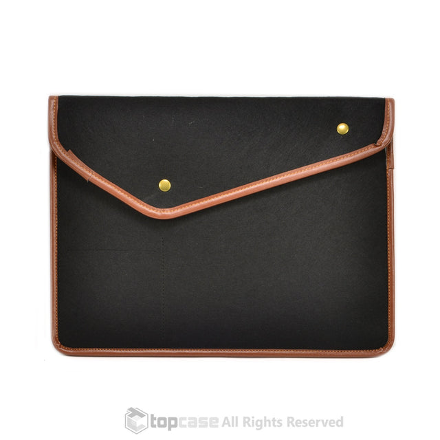 "Black with Button Closure Felt Environmental Sleeve Bag / Carrying Case for Apple Macbook 13"" Laptop / Ultrabooks / Chromebooks - TOP CASE"