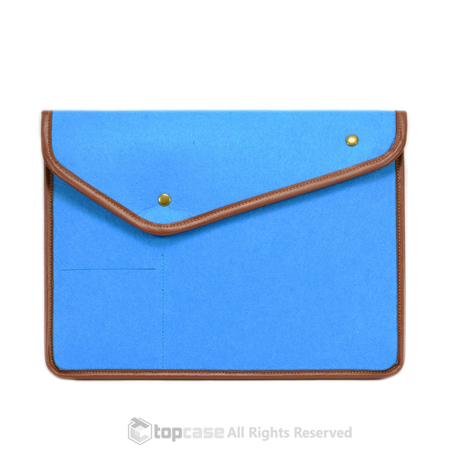"Blue with Button Closure Felt Environmental Sleeve Bag / Carrying Case for Apple Macbook 13"" Laptop / Ultrabooks / Chromebooks - TOP CASE"