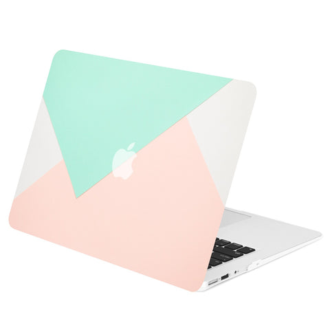"Geometric Pattern Rubberized Hard Case Cover for Macbook Air 11"" Model: A1370 / A1465 - Geometric Rose Quartz and Turquoise"