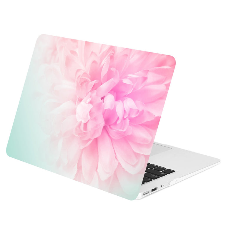 "Air 11-Inch Floral Pattern Rubberized Hard Case for Macbook Air 11"" Model: A1370 / A1465 - Pink Peony on Turquoise Base"