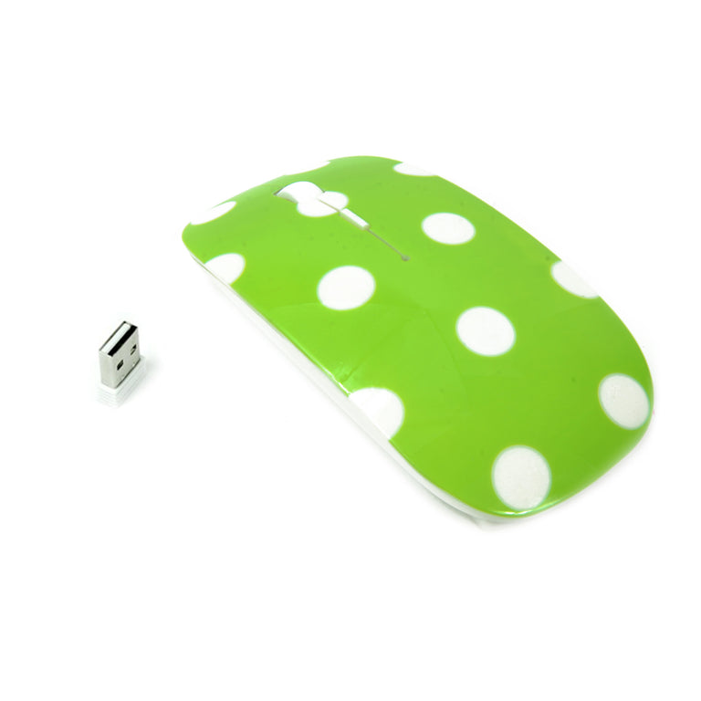 Polka Dot Design Green USB Optical Wireless Mouse for Macbook (pro , air) and All Laptop