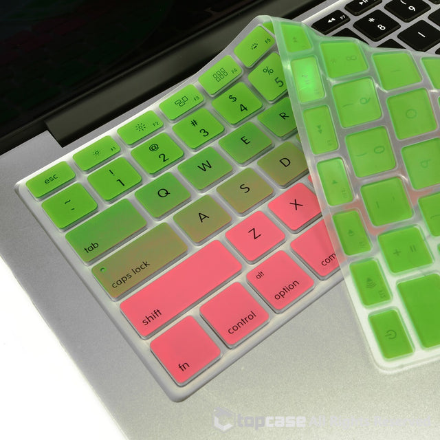 "TOP CASE Faded Ombre Series Green & Pink Silicone Keyboard Cover Skin for All Macbook 13"" 15"" 17"""