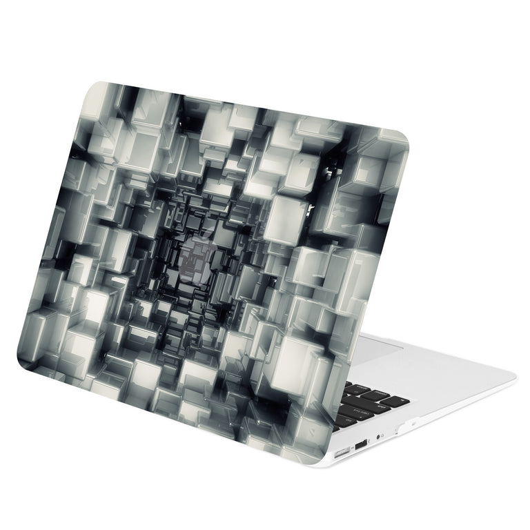 "TOP CASE - Geometric 3D Cubism Graphics Rubberized Hard Case Cover for MacBook Air 13""  – Black"
