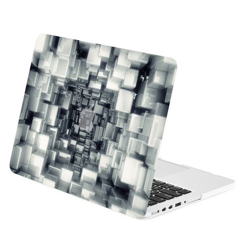 "TOP CASE - Geometric 3D Cubism Graphics Rubberized Hard Case Cover for Macbook Retina 15"" – Black"