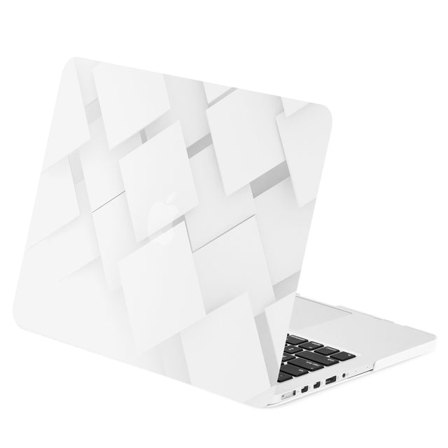 "TOP CASE - Geometric 3D Cubism Graphics Rubberized Hard Case Cover for Macbook Retina 13"" – White"