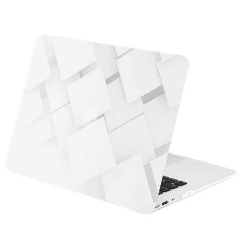 "TOP CASE - Geometric 3D Cubism Graphics Rubberized Hard Case Cover for MacBook Air 13"" – White"