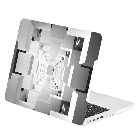 "TOP CASE - Geometric 3D Cubism Graphics Rubberized Hard Case Cover for Macbook Pro Retina 13"" – Gray"