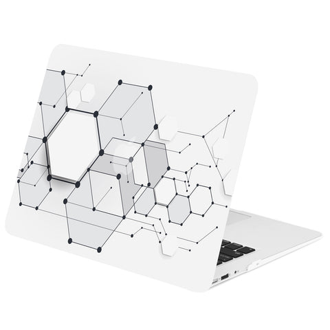 TOP CASE - Geometric 3D Hexagon Graphics Rubberized Hard Case Cover for MacBook Air 13""